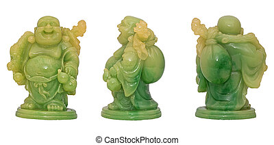 laughing Budda statue - Isolated Antique green laughing ...