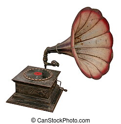 Isolated antique sound output phonograph or gramophone