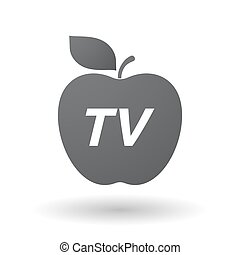 Isolated apple fruit with    the text TV