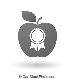 Isolated apple with  a ribbon award