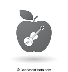 Isolated apple with a violin