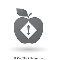 Isolated apple with   a warning road sign