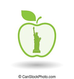 Isolated apple with  the Statue of Liberty