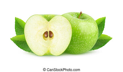 One green apple and a half isolated on white background