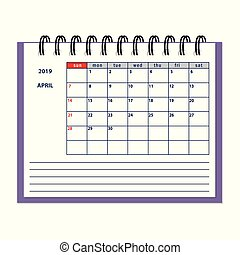 isolated April page 2019 planner calendar
