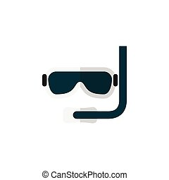 Isolated Aqualung Flat Icon. Scuba Diving Vector Element Can Be Used For Diving, Aqualung, Swimmer Design Concept.