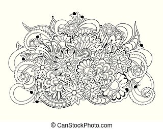isolated arabesque composition with mandalas and flowers