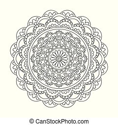 isolated arabesque mandala with spiral