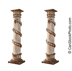 isolated architectural columns on a white background