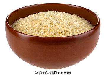 isolated., arroz, tigela, asiático