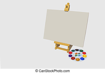 Isolated Artists Easel With Canvas And Palette