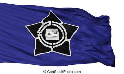 Isolated Ashibetsu city flag, prefecture Hokkaido, Japan -...