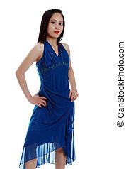 Asian woman in blue dress