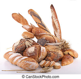 isolated assortment of bread