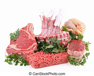 isolated assortment of raw meat - isolated raw meat on white...