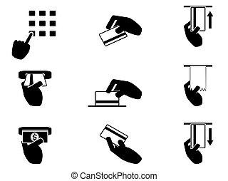 ATM hand control icons set