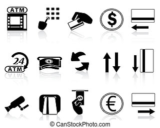 atm machine and credit card icons set - isolated atm machine...