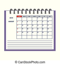 isolated August page 2019 planner calendar
