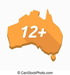 Isolated Australia map with    the text 12+