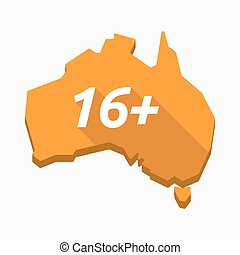 Isolated Australia map with    the text 16+