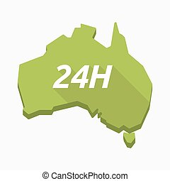 Isolated Australia map with    the text 24H