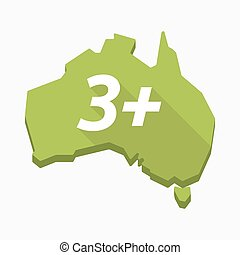 Isolated Australia map with    the text 3+