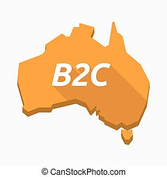 Isolated Australia map with    the text B2C