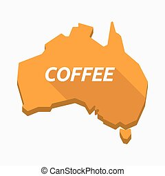 Isolated Australia map with    the text COFFEE
