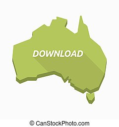 Isolated Australia map with    the text DOWNLOAD