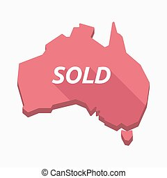 Isolated Australia map with    the text SOLD