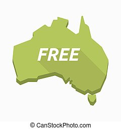 Isolated Australia map with    the text  FREE