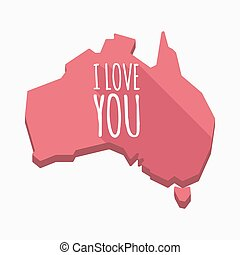 Isolated Australia map with the text I LOVE YOU
