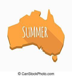 Isolated Australia map with    the text SUMMER