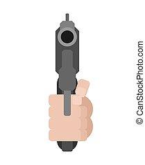 isolated., automático, arma, ilustração, mão, vetorial, punho, frente, vista., handgun