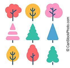 Isolated autumn color trees set in cartoon rustic style, forest, park and garden tree flat signs collection