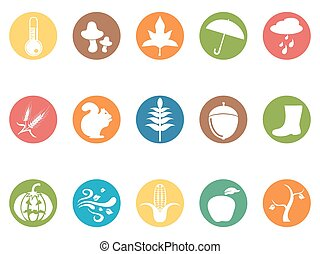 autumn round button flat icons set