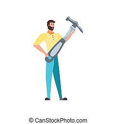 Isolated avatar man and hammer design