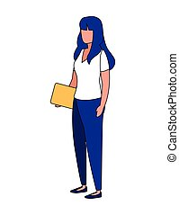 Isolated avatar woman with laptop vector design