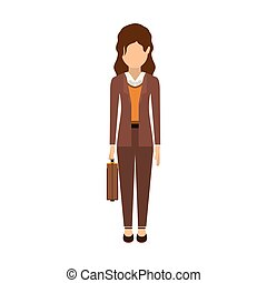 Isolated avatar woman with suitcase design