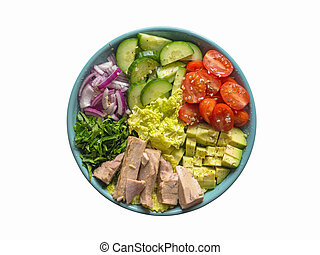 Isolated Avocado Tuna Salad on a plate. Top view
