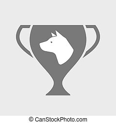 Isolated award cup icon with  a dog head
