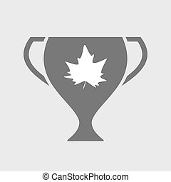 Isolated award cup icon with an autumn leaf tree