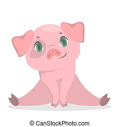 Isolated baby pig.