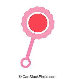 Isolated baby rattle. Children toy - Vector illustration...