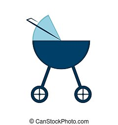 Isolated baby stroller icon. Vector illustration design