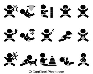 baby with toys icon - isolated baby with toys icon on white...