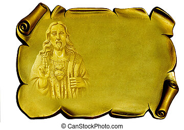 Isolated background: Jesus on a golden plaque (digital illustration) empty space for you text
