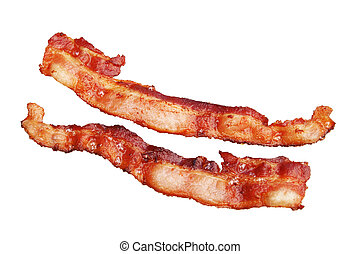 two strips of cooked bacon isolated on white background