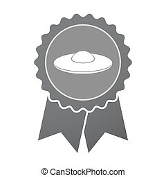 Isolated badge with  a flying saucer UFO