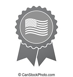 Isolated badge with  the Unites States of America waving flag